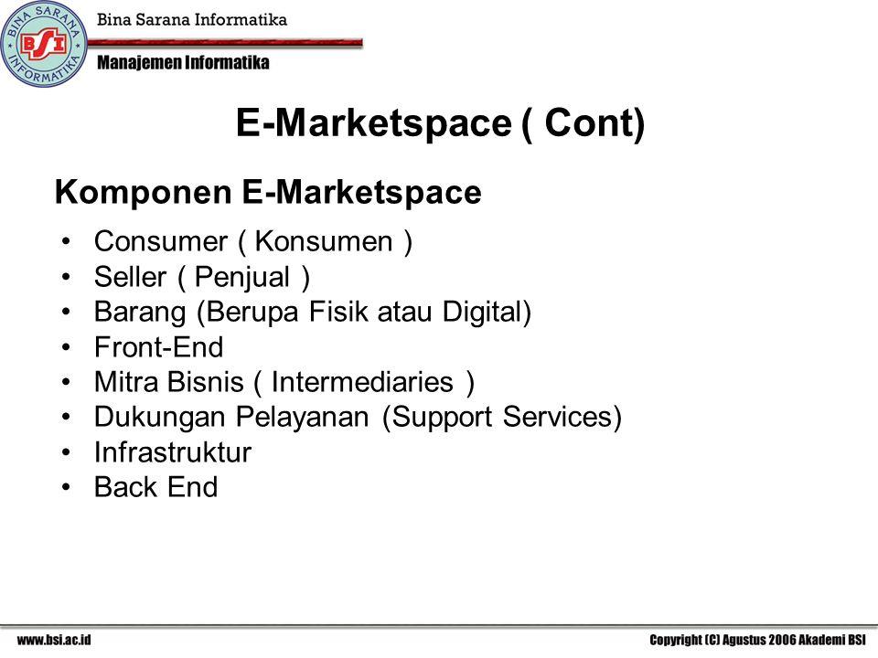E-Marketspace ( Cont) Komponen E-Marketspace Consumer ( Konsumen )