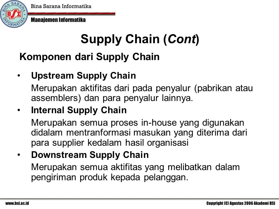 Komponen dari Supply Chain