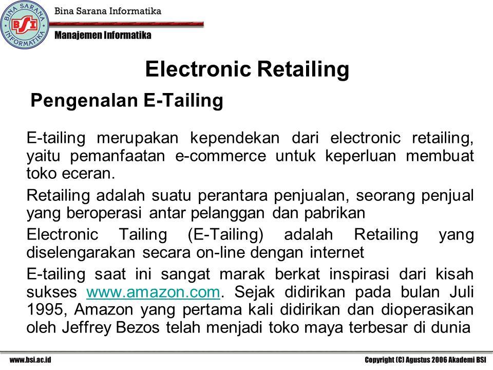Electronic Retailing Pengenalan E-Tailing