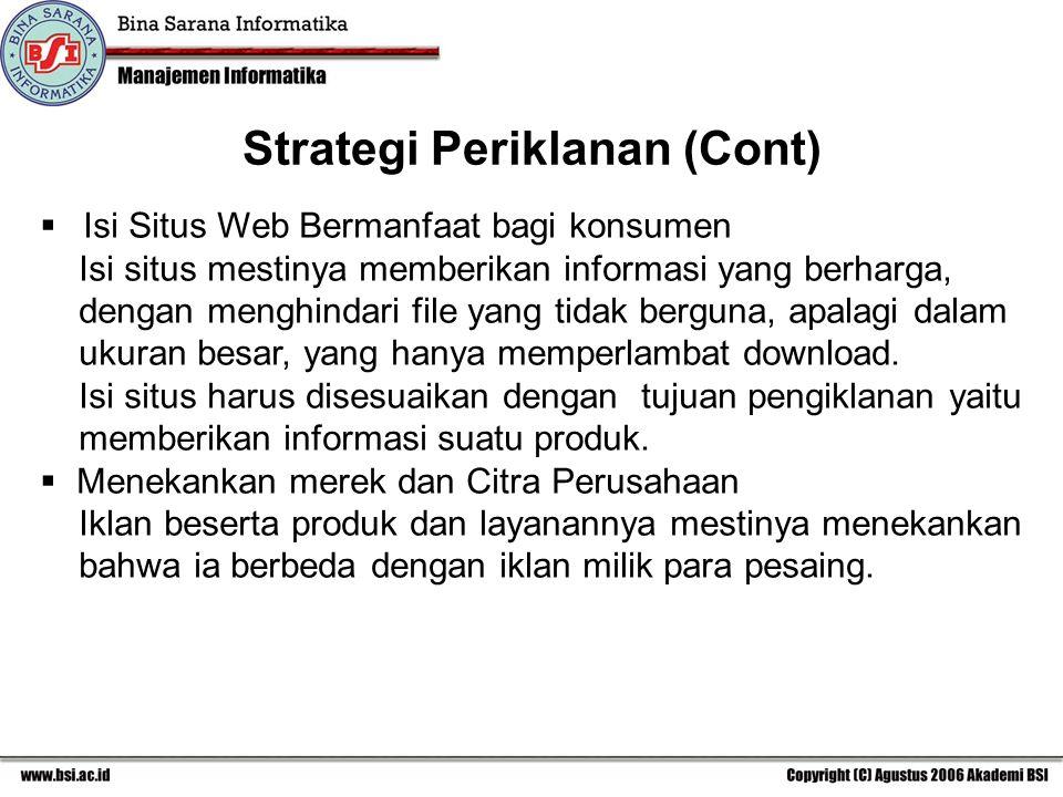 Strategi Periklanan (Cont)