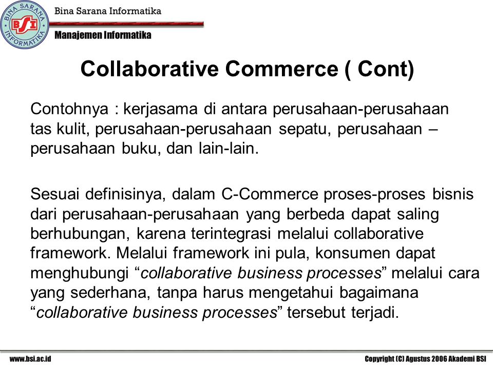 Collaborative Commerce ( Cont)