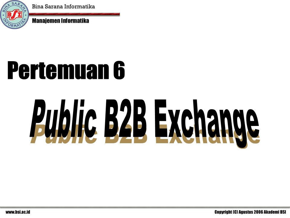 Pertemuan 6 Public B2B Exchange