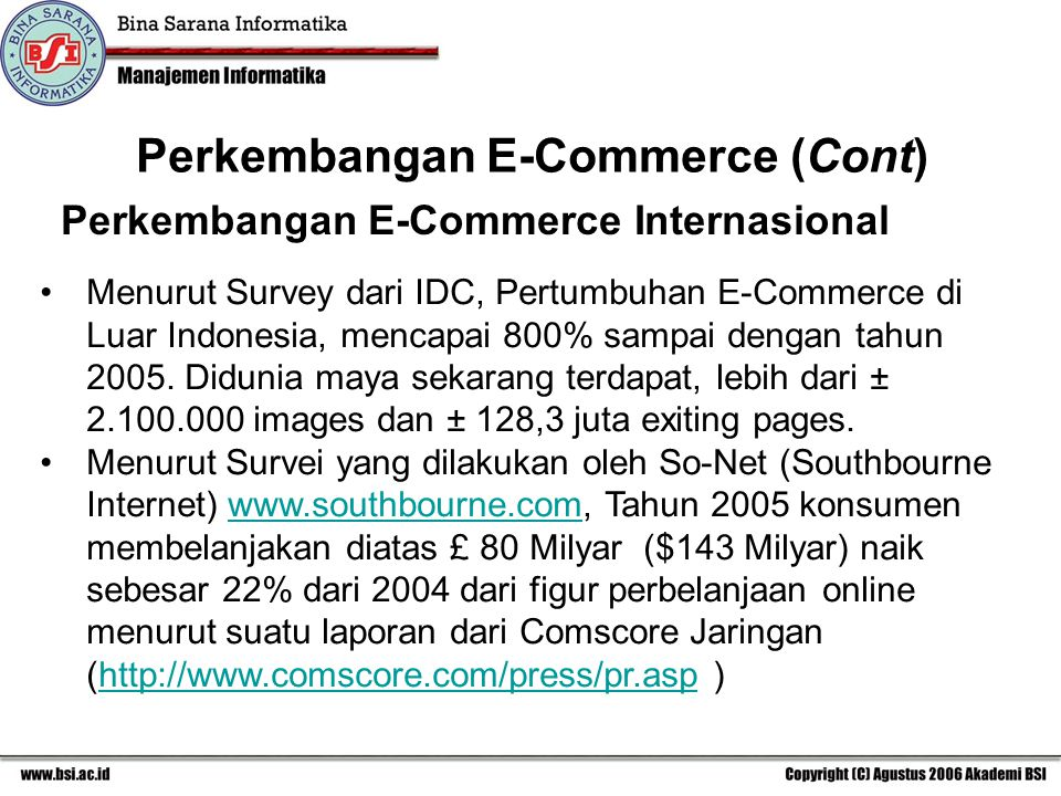 Perkembangan E-Commerce (Cont)