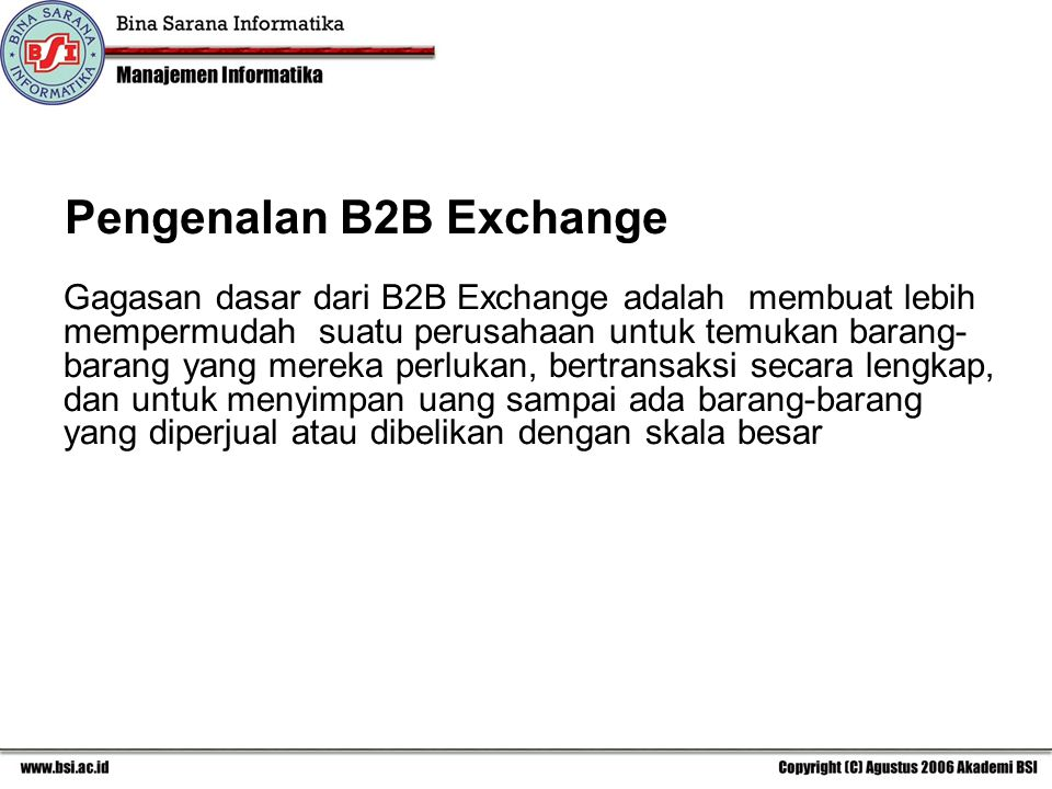 Pengenalan B2B Exchange