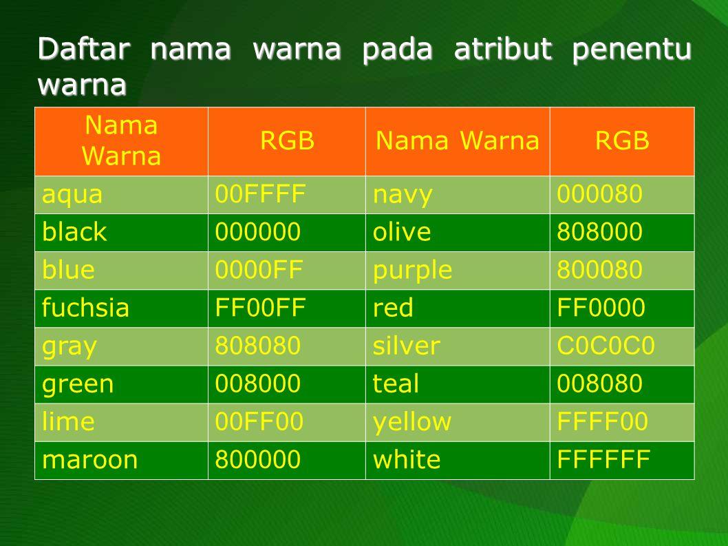 Daftar nama warna pada atribut penentu warna