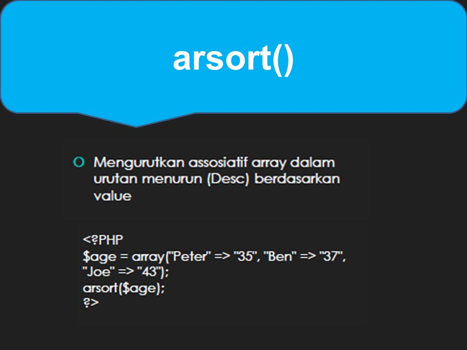 arsort()