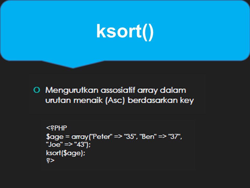 ksort()