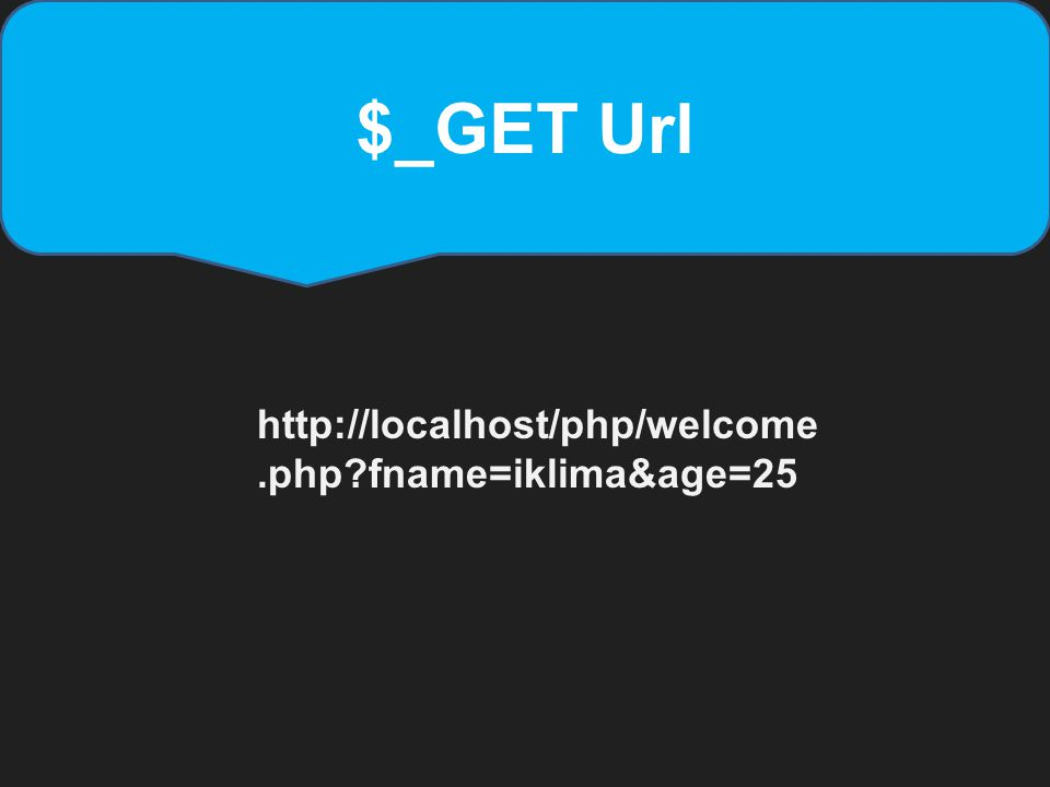 $_GET Url http://localhost/php/welcome.php fname=iklima&age=25
