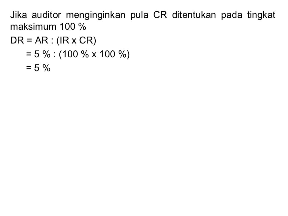 Jika auditor menginginkan pula CR ditentukan pada tingkat maksimum 100 %