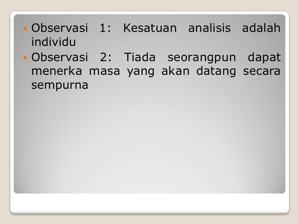 Observasi 1: Kesatuan analisis adalah individu