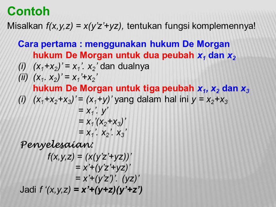 Contoh Misalkan f(x,y,z) = x(y'z'+yz), tentukan fungsi komplemennya!