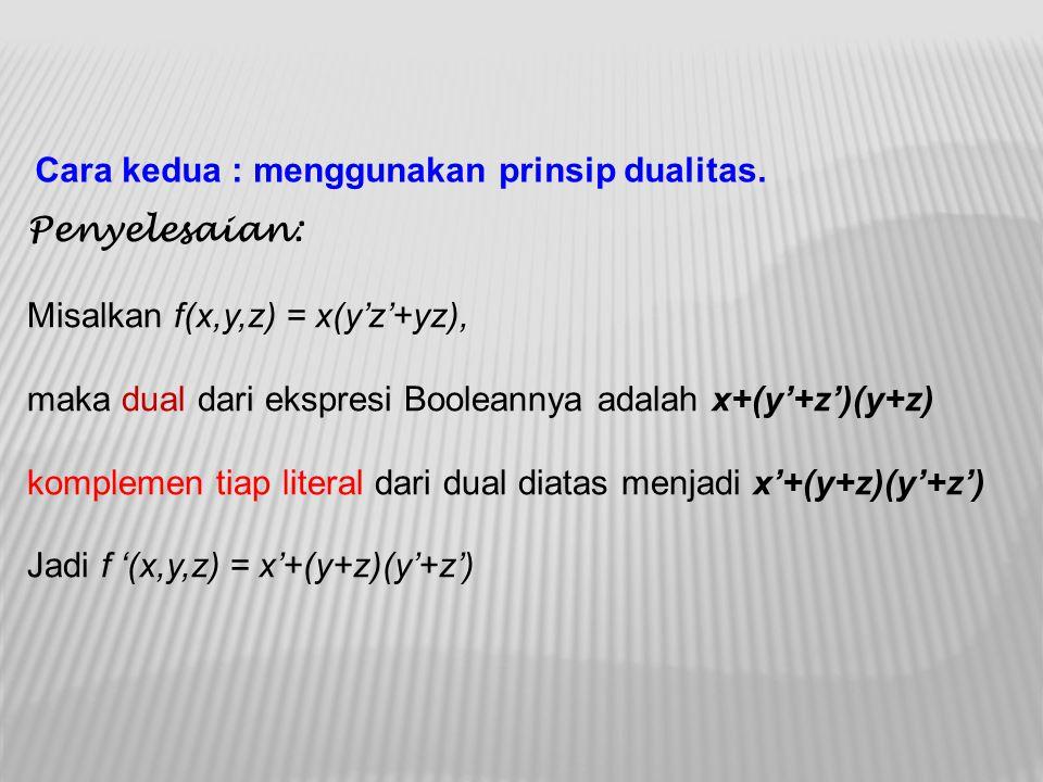 Cara kedua : menggunakan prinsip dualitas.