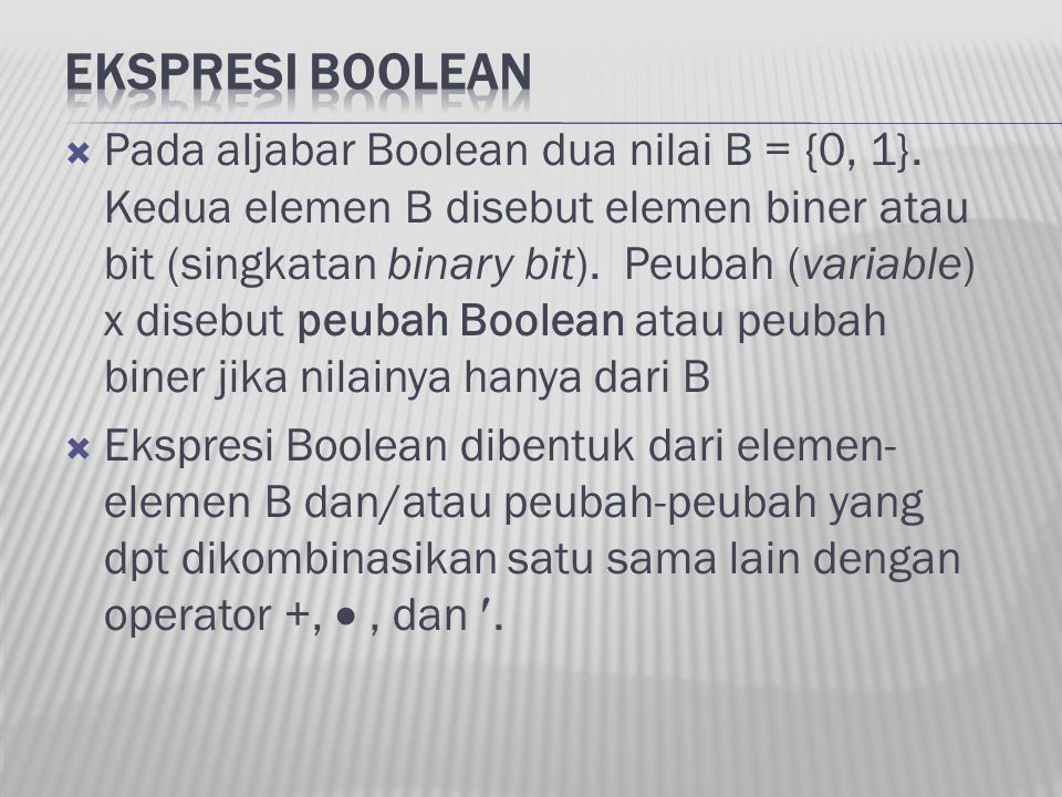 EKSPRESI BOOLEAN