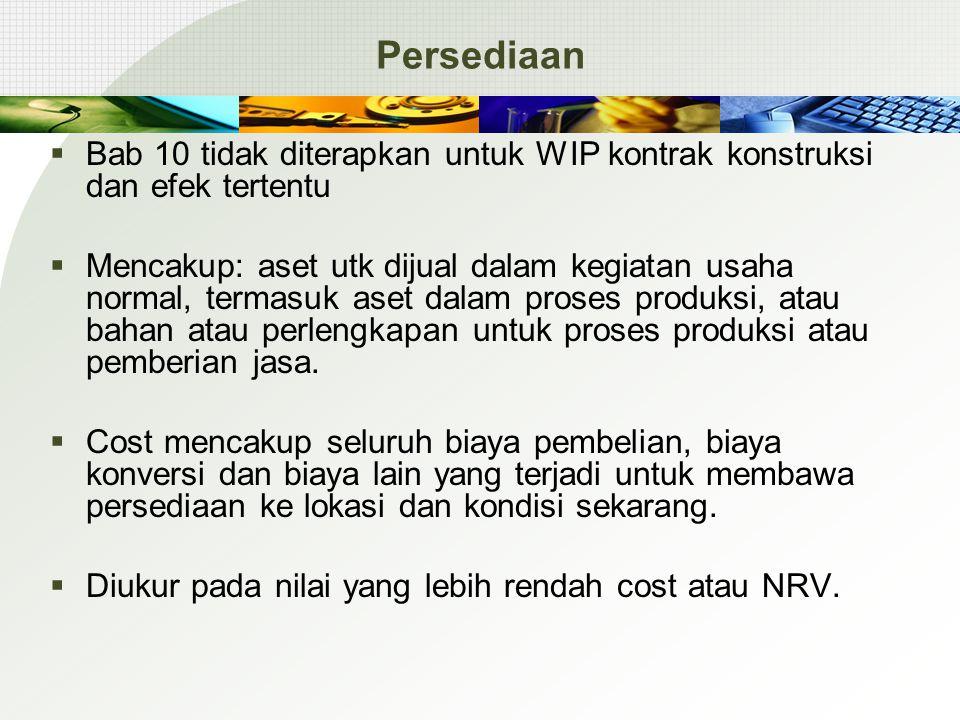 Persediaan Bab 10 tidak diterapkan untuk WIP kontrak konstruksi dan efek tertentu.