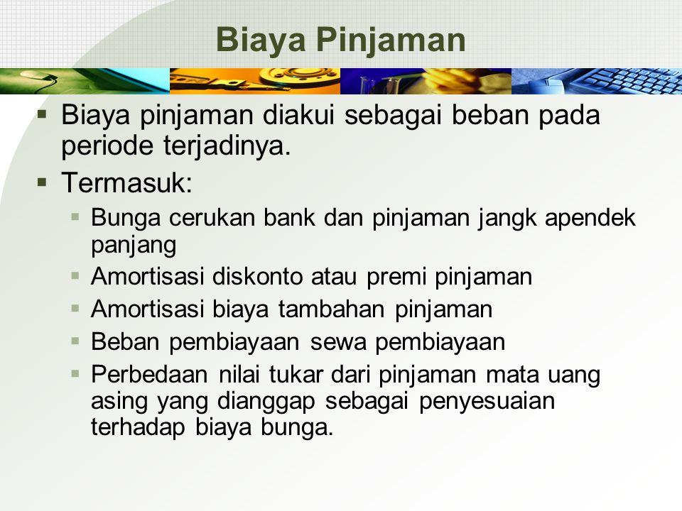 Biaya Pinjaman Biaya pinjaman diakui sebagai beban pada periode terjadinya. Termasuk: Bunga cerukan bank dan pinjaman jangk apendek panjang.