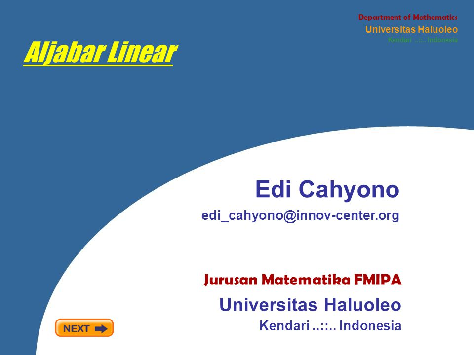 Aljabar Linear Edi Cahyono Universitas Haluoleo