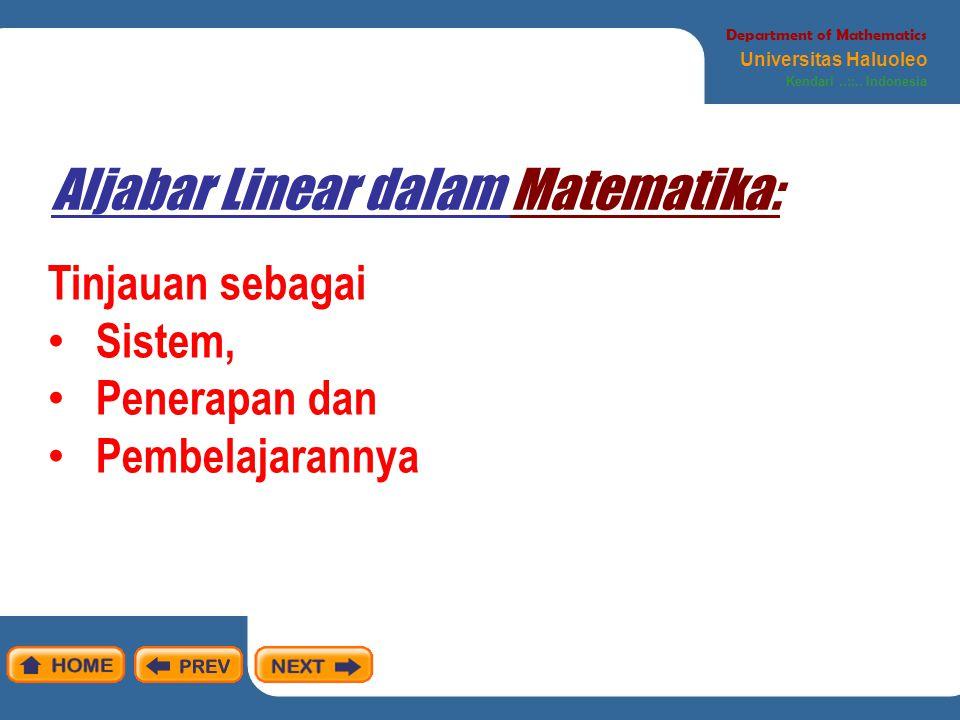 Aljabar Linear dalam Matematika:
