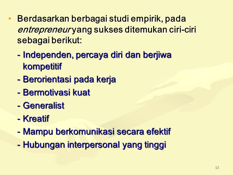 - Independen, percaya diri dan berjiwa kompetitif