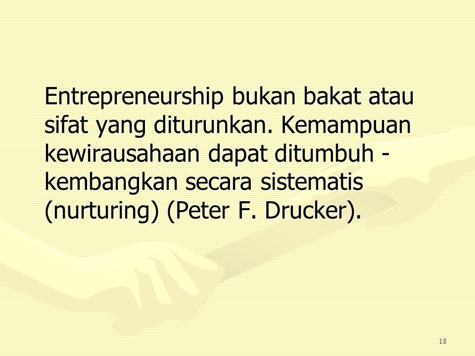 Entrepreneurship bukan bakat atau sifat yang diturunkan