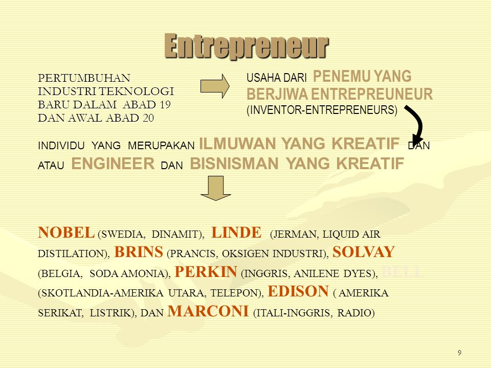 Entrepreneur USAHA DARI PENEMU YANG BERJIWA ENTREPREUNEUR (INVENTOR-ENTREPRENEURS)