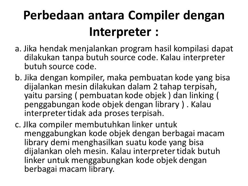 Perbedaan antara Compiler dengan Interpreter :