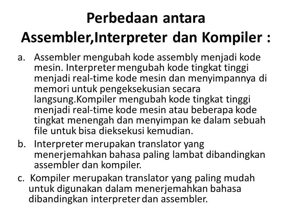 Perbedaan antara Assembler,Interpreter dan Kompiler :