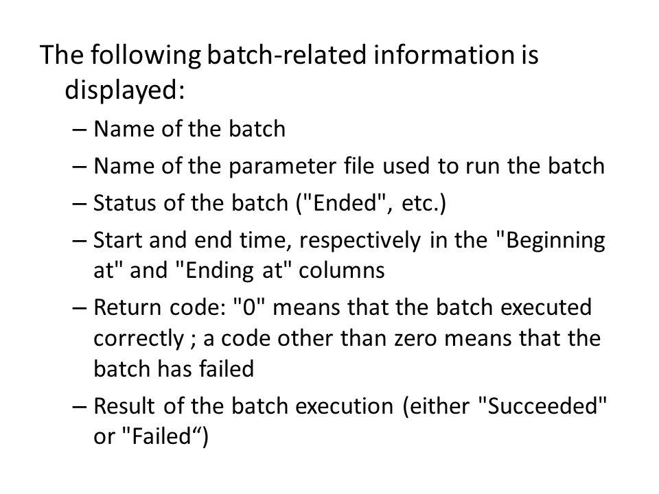 The following batch-related information is displayed: