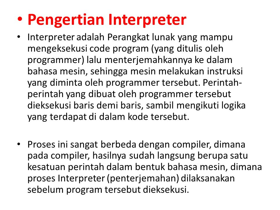 Pengertian Interpreter
