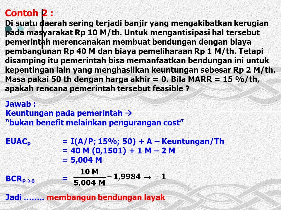Contoh 2 : Di suatu daerah sering terjadi banjir yang mengakibatkan kerugian pada masyarakat Rp 10 M/th. Untuk mengantisipasi hal tersebut pemerintah merencanakan membuat bendungan dengan biaya pembangunan Rp 40 M dan biaya pemeliharaan Rp 1 M/th. Tetapi disamping itu pemerintah bisa memanfaatkan bendungan ini untuk kepentingan lain yang menghasilkan keuntungan sebesar Rp 2 M/th. Masa pakai 50 th dengan harga akhir = 0. Bila MARR = 15 %/th, apakah rencana pemerintah tersebut feasible