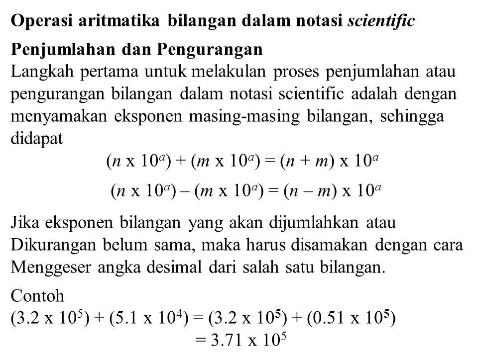 Operasi aritmatika bilangan dalam notasi scientific