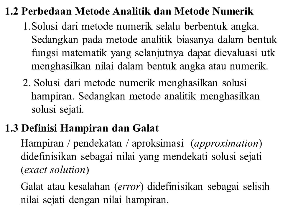 1.2 Perbedaan Metode Analitik dan Metode Numerik