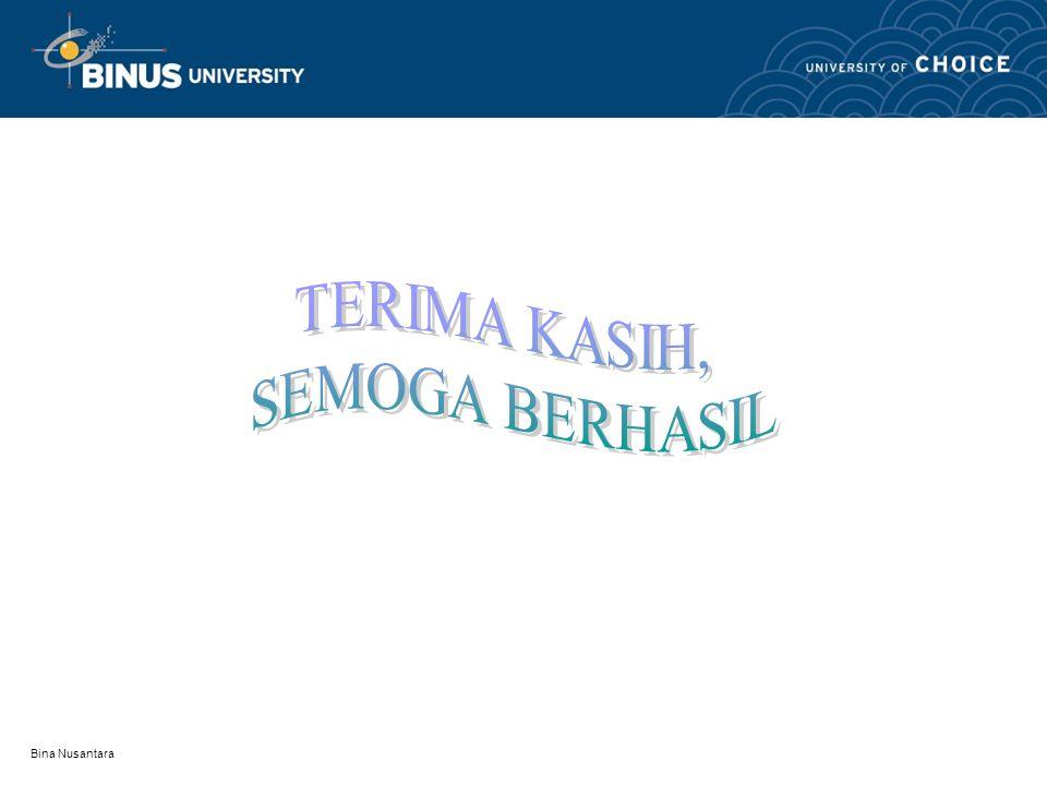 TERIMA KASIH, SEMOGA BERHASIL Bina Nusantara