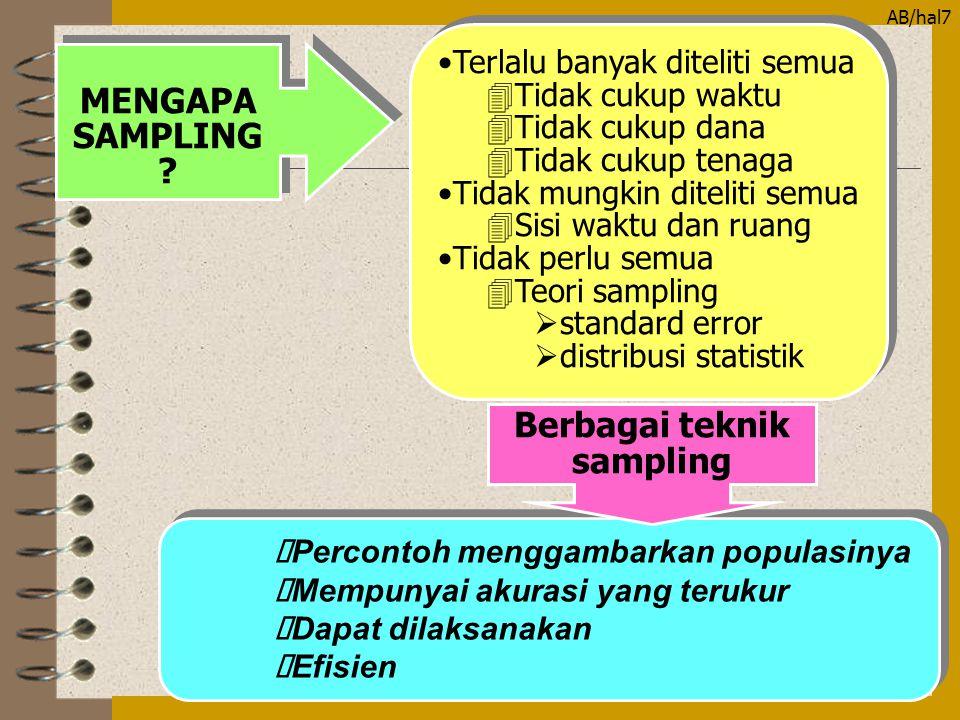 MENGAPA SAMPLING Berbagai teknik sampling