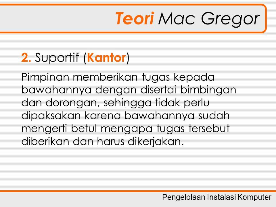 Teori Mac Gregor Suportif (Kantor) Pimpinan memberikan tugas kepada