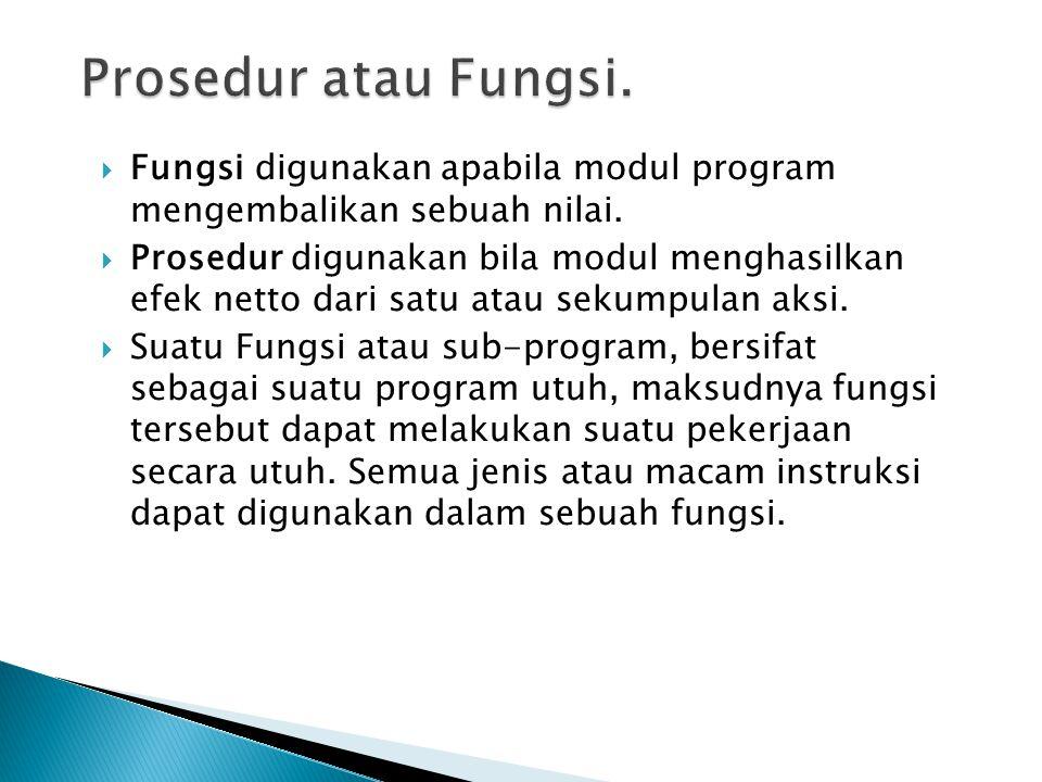 Prosedur atau Fungsi. Fungsi digunakan apabila modul program mengembalikan sebuah nilai.