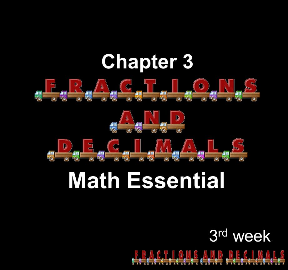 Chapter 3 Math Essential 3rd week