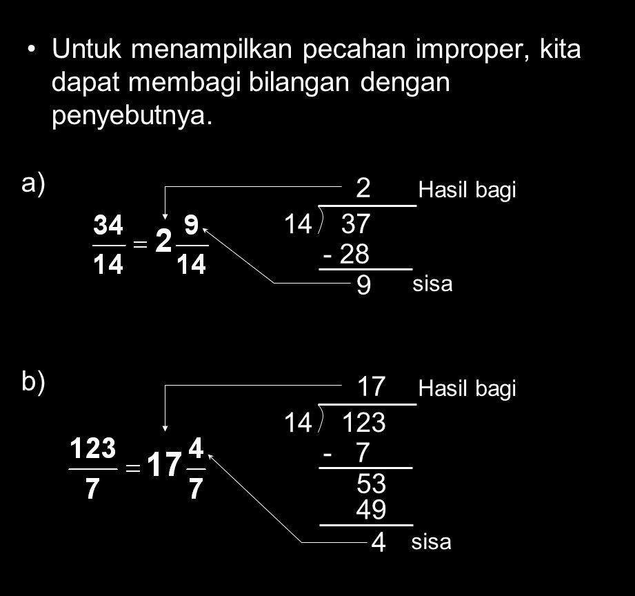 Untuk menampilkan pecahan improper, kita dapat membagi bilangan dengan penyebutnya.