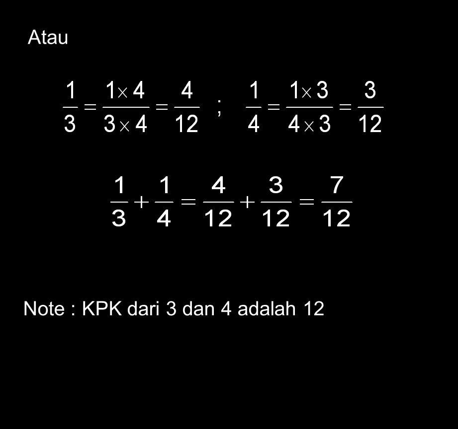 Atau Note : KPK dari 3 dan 4 adalah 12