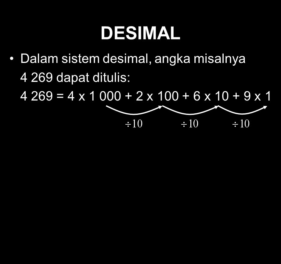 DESIMAL Dalam sistem desimal, angka misalnya 4 269 dapat ditulis: