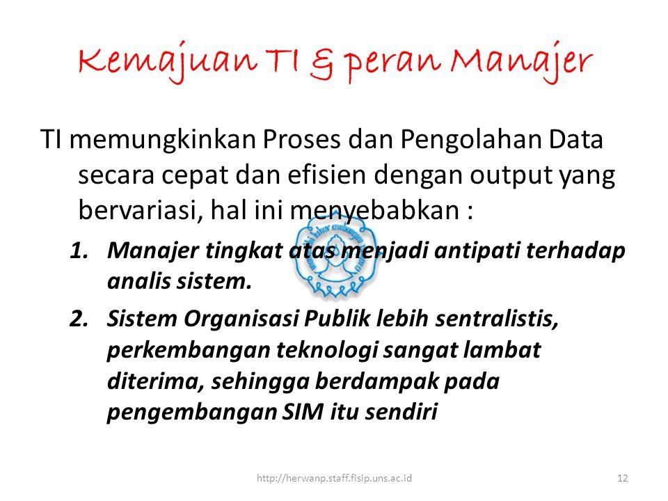 Kemajuan TI & peran Manajer