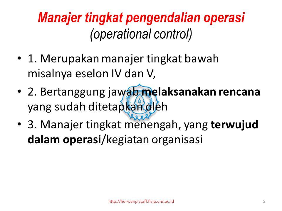 Manajer tingkat pengendalian operasi (operational control)