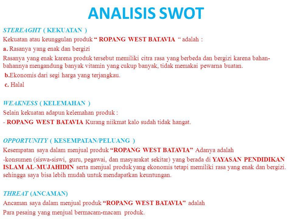 ANALISIS SWOT STEREAGHT ( KEKUATAN )