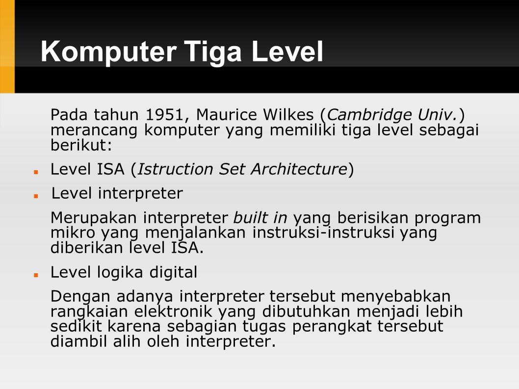 Komputer Tiga Level Pada tahun 1951, Maurice Wilkes (Cambridge Univ.) merancang komputer yang memiliki tiga level sebagai berikut: