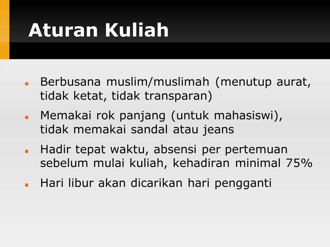 Aturan Kuliah Berbusana muslim/muslimah (menutup aurat, tidak ketat, tidak transparan)