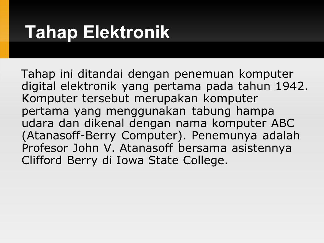 Tahap Elektronik