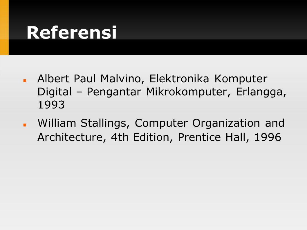 Referensi Albert Paul Malvino, Elektronika Komputer Digital – Pengantar Mikrokomputer, Erlangga, 1993.