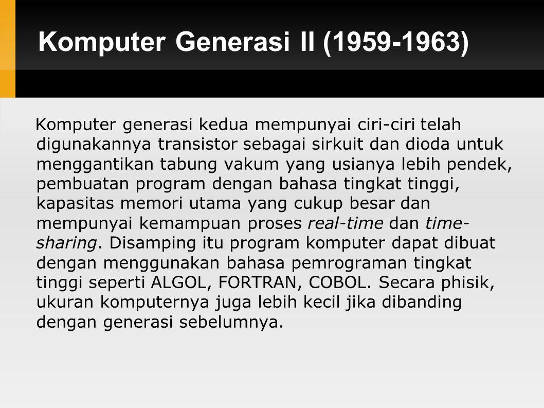 Komputer Generasi II (1959-1963)