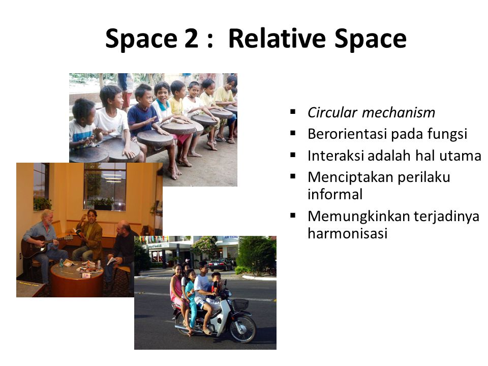 Space 2 : Relative Space Circular mechanism Berorientasi pada fungsi