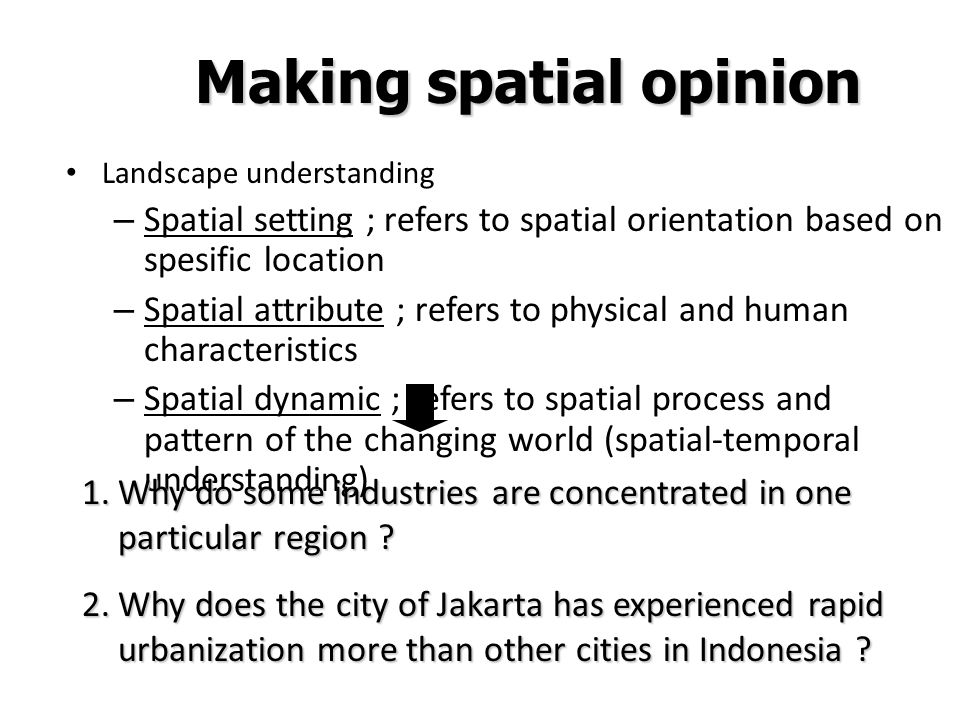 Making spatial opinion