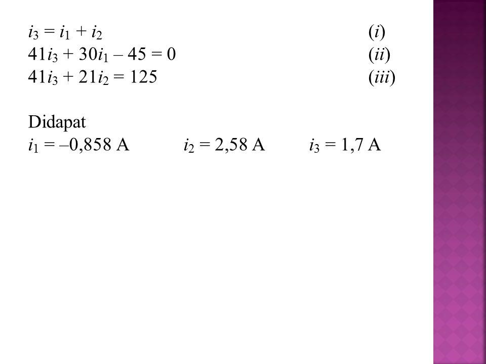 i3 = i1 + i2 (i) 41i3 + 30i1 – 45 = 0 (ii) 41i3 + 21i2 = 125 (iii) Didapat.